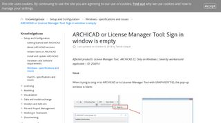 ARCHICAD or License Manager Tool: Sign in window is empty ...