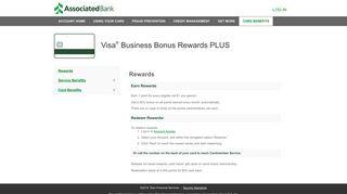 Visa ® Business Bonus Rewards PLUS - Associated Bank Credit Cards