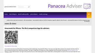 Assureweb for iPhone. The first comparison App for advisers