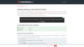 Default settings of the ASUS RT-N56U - routerdefaults.org