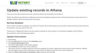 Update existing records in Athena - Mitinet Library Services