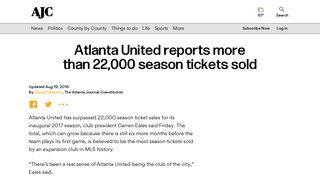 Atlanta United reports more than 22,000 season tickets sold - AJC.com