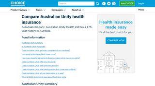 Australian Unity health insurance review - Choice