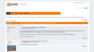 User login fails on Windows 7 after Avast update - Avast WEBforum