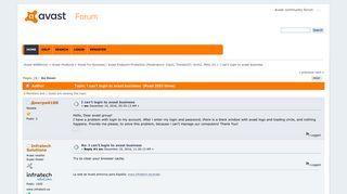 I can't login to avast business - Avast WEBforum