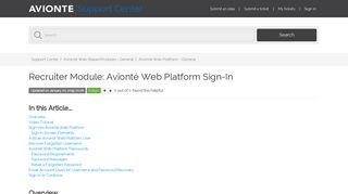 Recruiter Module: Avionté Web Platform Sign-In – Support Center