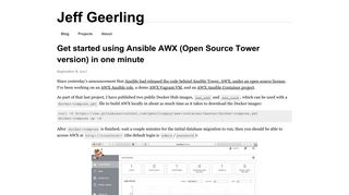 Get started using Ansible AWX (Open Source Tower version) in one ...