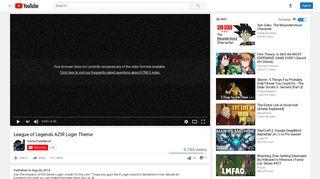 League of Legends AZIR Login Theme - YouTube