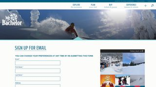 Sign Up For Email - Mt. Bachelor