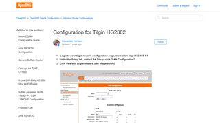 Configuration for Tilgin HG2302 – OpenDNS