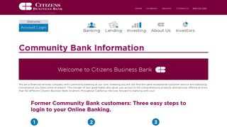 Community Bank Information - Citizens Business Bank