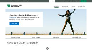 Apply for a Credit Card Online at Bank of the West