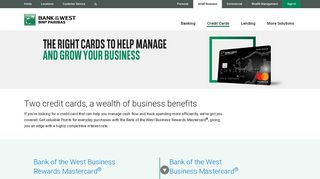 Credit Cards   Small Business   Bank of the West