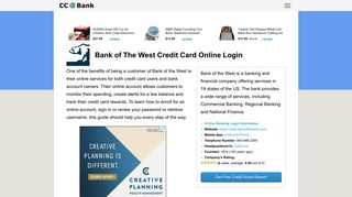 Bank of The West Credit Card Online Login - CC Bank