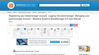 Registering your basemanager account, Logging into basemanager ...