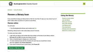 Renew a library loan | Buckinghamshire County Council