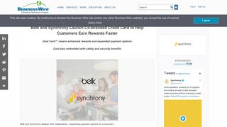 Belk and Synchrony Launch Co-Branded Credit Card ... - Business Wire
