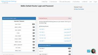 Belkin Default Router Login and Password - Clean CSS