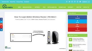How To Login Belkin Wireless Router   192.168.2.1 – TechVaidya
