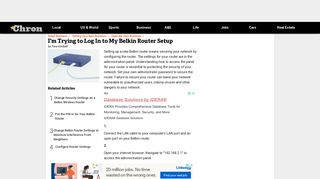 I'm Trying to Log In to My Belkin Router Setup   Chron.com