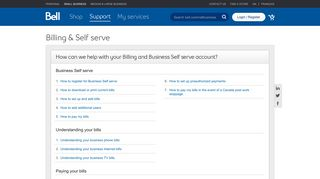 Billing and Self serve support for Bell Small Business