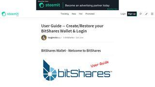 User Guide -- Create/Restore your BitShares Wallet & Login — Steemit