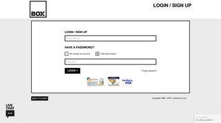 Login / Sign Up at box.co.uk