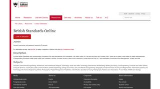 British Standards Online   The Library   University of Salford, Manchester