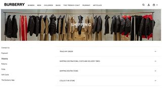 Shipping Information | Burberry