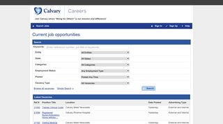 Job Search and Online Recruitment   Calvary Health Care Careers