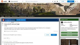 Steam EU/PC still can't login : elderscrollsonline - Reddit