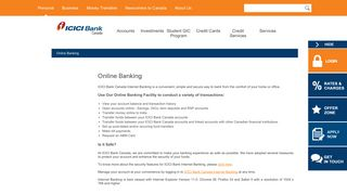 Online Banking: ICICI Bank Canada
