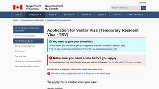Application for Visitor Visa (Temporary Resident Visa - TRV) - Cic.gc.ca