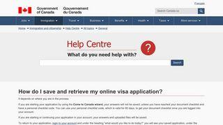 How do I save and retrieve my online visa application? - Cic.gc.ca