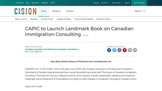 CAPIC to Launch Landmark Book on Canadian Immigration Consulting