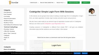 CodeIgniter Simple Login Form With Sessions | FormGet