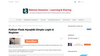 Python Flask Mysqldb Simple Login & Register - Rahmat Siswanto ...