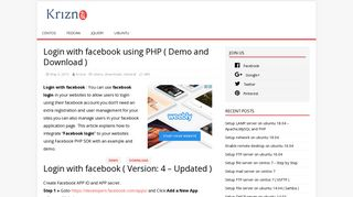 Login with facebook using PHP ( Demo and Download ) - Krizna
