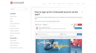 How to sign up for a Carousell account via the web? - Carousell Help ...