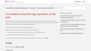 I'm unable to select the sign up button on the web – Carousell Help ...