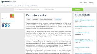 Work at Carrols Corporation   CareerBuilder