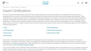 Expert Certifications - Cisco