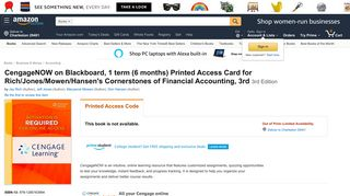 CengageNOW on Blackboard, 1 term (6 months) Printed Access Card ...