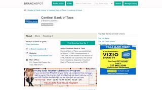 Centinel Bank of Taos - 2 Locations, Hours, Phone Numbers …