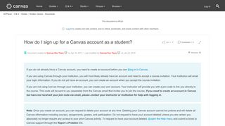 How do I sign up for a Canvas account as a stud... | Canvas LMS ...