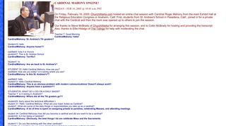 Chat 2005: Cardinal Mahony online chat