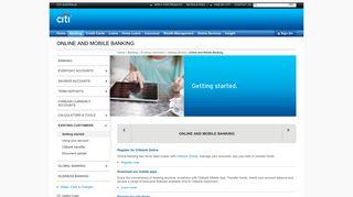 Bank Accounts - Register for Online Banking | Citibank