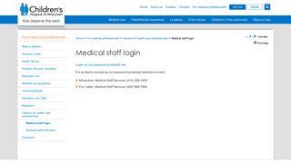 Medical Staff Login | Children's Hospital of Wisconsin