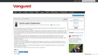 Claritta Login & Registration - Vanguard Online Community