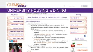 Instructions and Steps on How to Apply - Clemson Housing & Dining